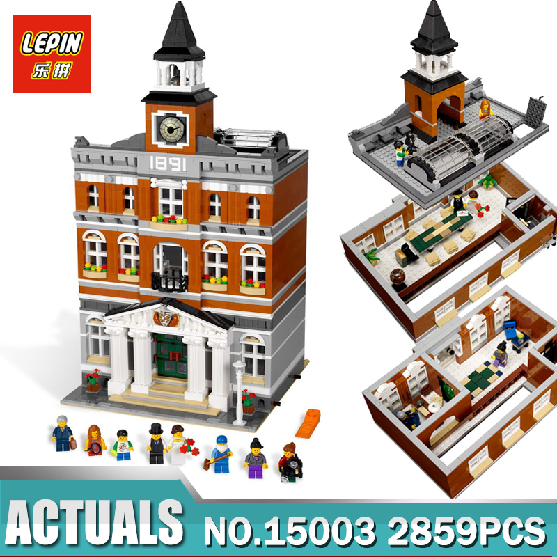 Lepin 15003 New 2859Pcs The town hall Model Building Kits Blocks Kid DIY Toy Gift LEPIN Compatible Legoing 10224 free dhl shipping lepin 15003 new 2859pcs creators the town hall model building kits blocks kid toy gift