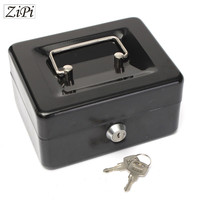 Zipi Stainless Steel Petty Cash Money Box Security Lock Lockable Metal Safe Small Piggy Bank Creative