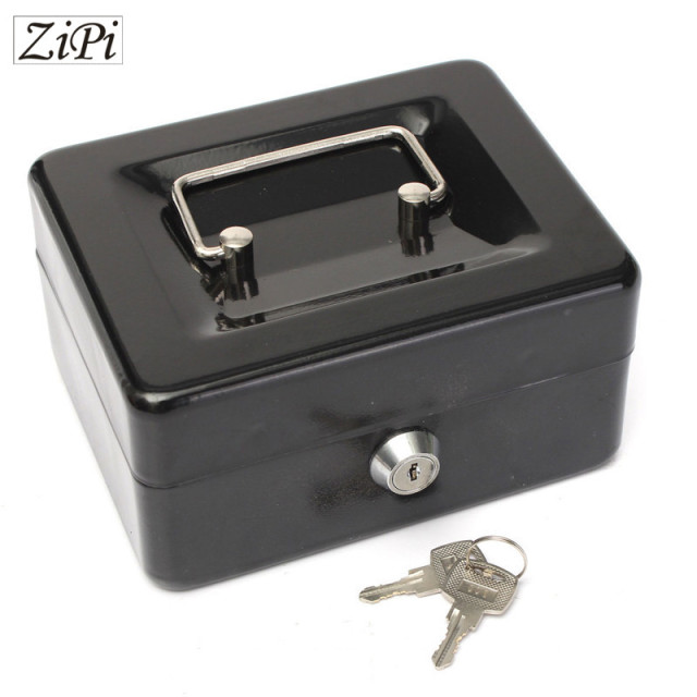 Zipi Stainless Steel Petty Cash Money Box Security Lock Lockable Metal Safe Small piggy bank Creative Christmas gift home