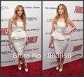 Autumn Winter Strapless Knee Length Elegant Jennifer Lopez Red Carpet Celebrity Dresses Vestidos