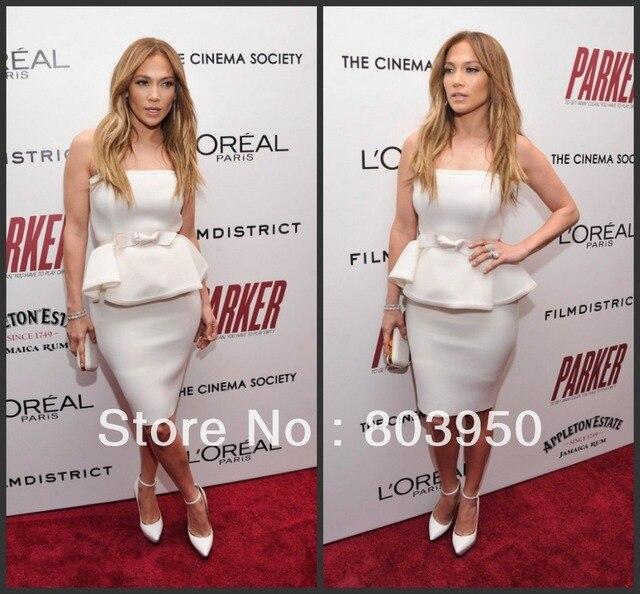 Outono Inverno Na Altura Do Joelho Strapless Elegante Jennifer Lopez No Tapete Vermelho Vestidos de Celebridades Vestidos