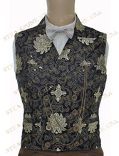 Halloween Costume Black Jacquard Floral Victorian Steampunk Waistcoat