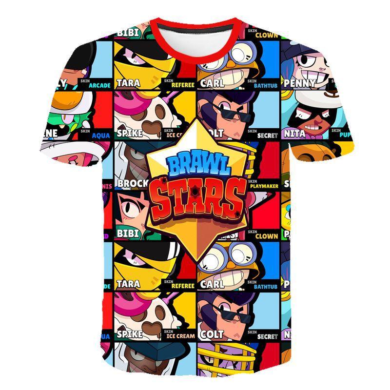 Summer 2019 New Brawle Stares Shooting Game 3D Printed T Shirt Fashion Cartoon Short Sleeve Boys And Girls Tops T Shir 100-160CM