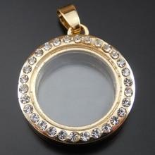 1PC 25 6 29mm Gold Alloy Round Shape Locket Box Rhinestone Decor Charms Pendant Jewelry Making