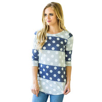 Women Fashion Casual Long Sleeve Tunic Tops Floral Print Bold Striped Polka Dot Lady Autumn Cute