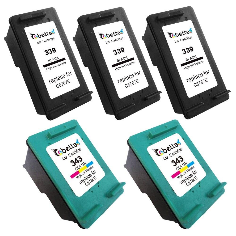 Prix pour 5PK, imprimante Cartouches pour HP 339 343 hp339 hp343 Officejet 6315 6318 K7100 K7103 K7108 Deskjet 6940 6943 6980 6980dt 6983 6988