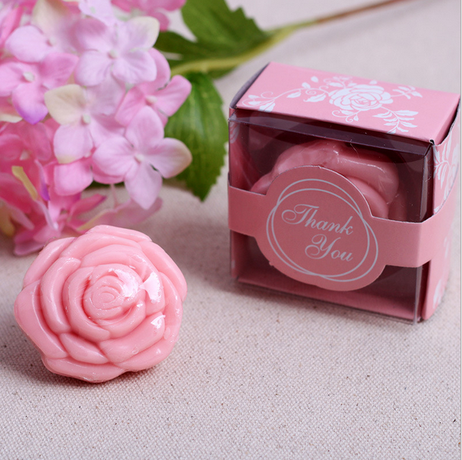 20pcs white yellow pink purple wedding giveaways flower soap savon