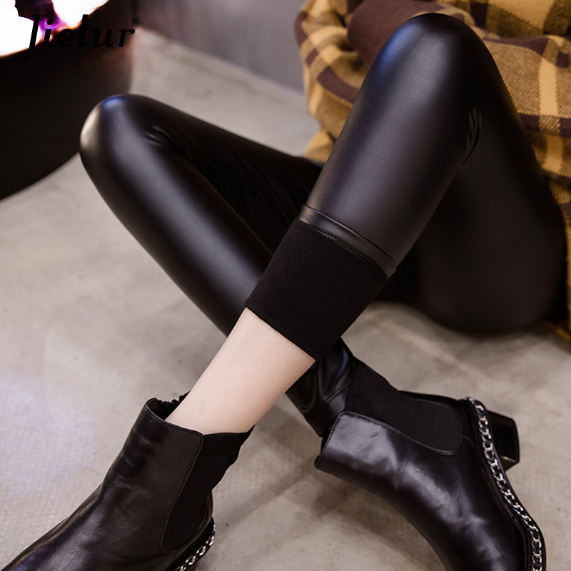 Jielur Black   Leggings   Women 2019 Winter Fleece Warm PU Faux Leather Pants Office Lady New Slim Pure Color Fashion Female Leggins