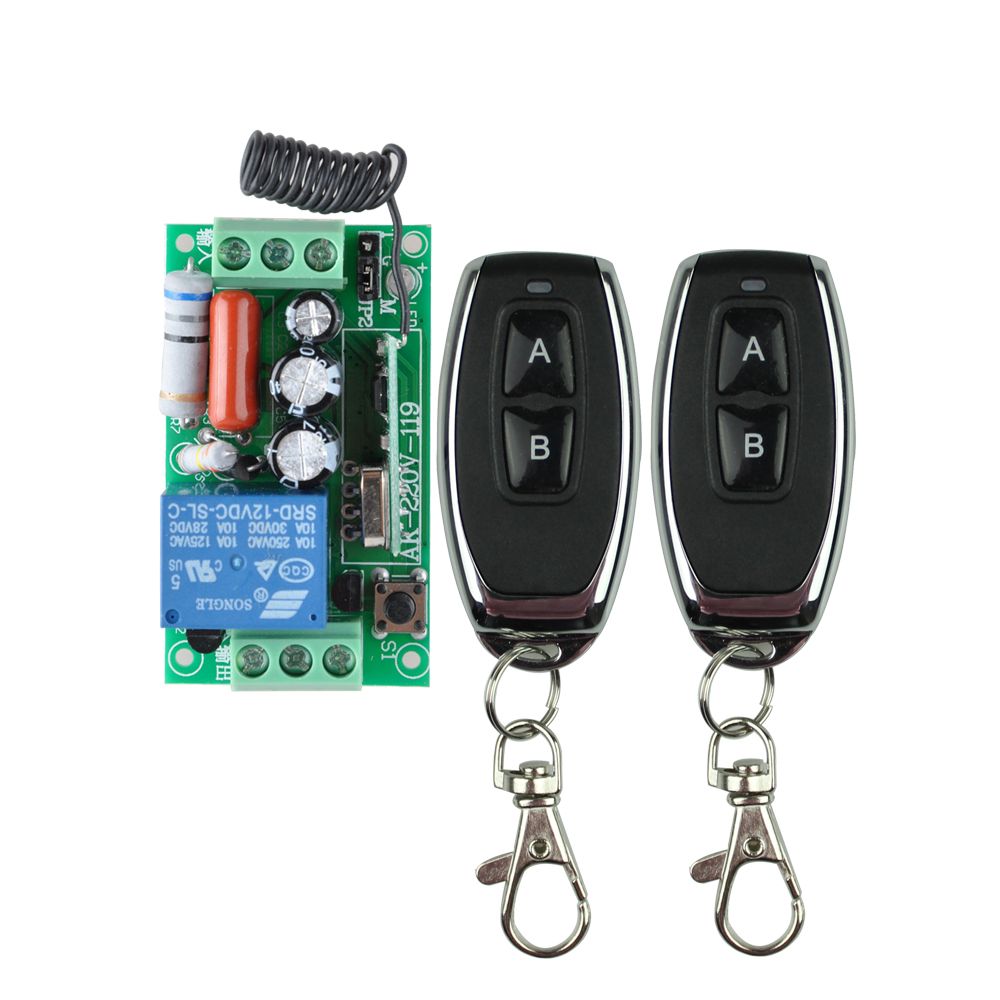 AC 220 V 1CH 10A Relay RF Wireless Remote Control Switch Wireless Light Switch Receiver + 2PCS Transmitter 315Mhz / 433.92Mhz 315 433mhz 12v 2ch remote control light on off switch 3transmitter 1receiver momentary toggle latched with relay indicator