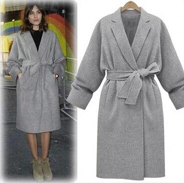 cbfe023e98fed UK manteau femme 2019 automne hiver femmes Simple noir gris cachemire look  robe Long manteau avec
