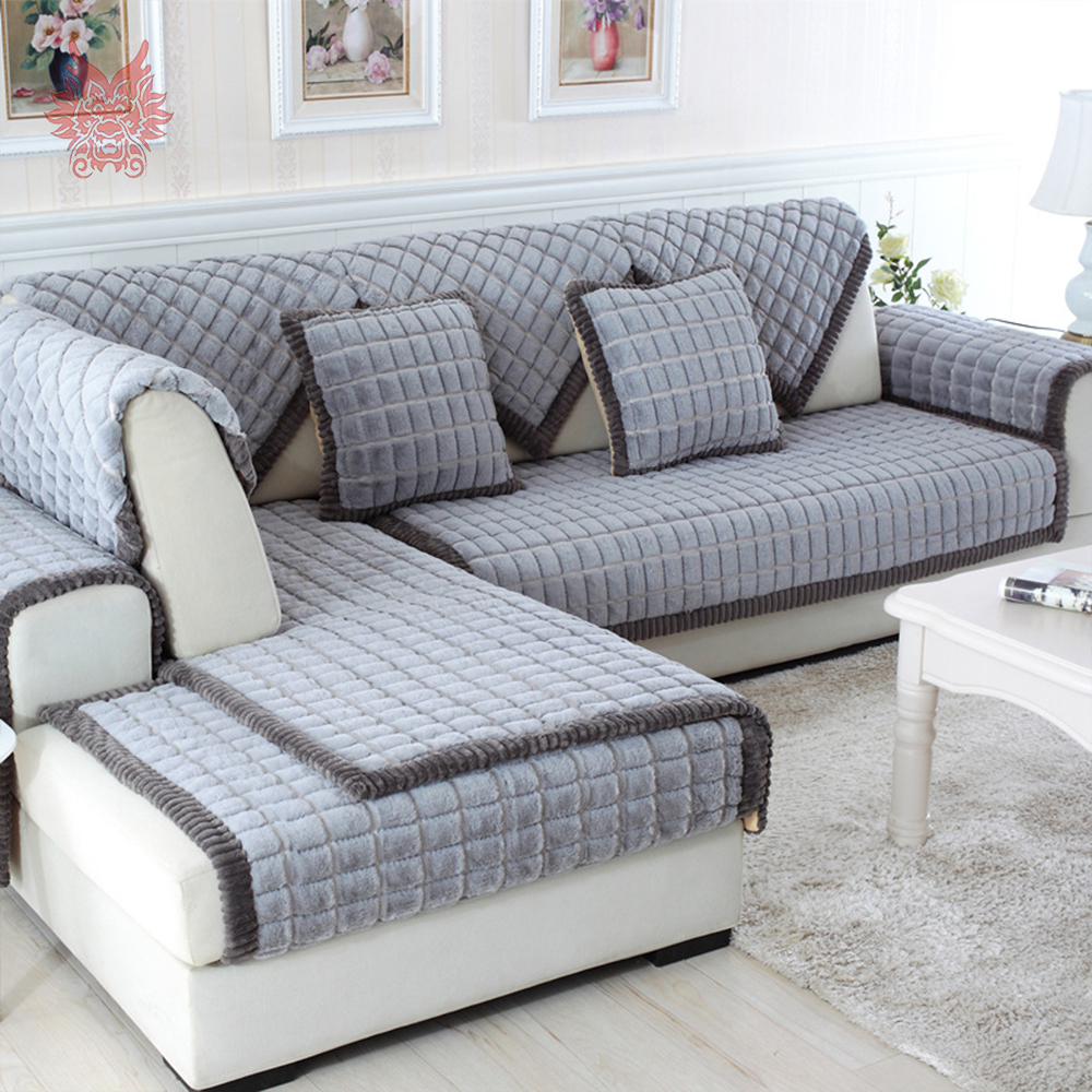 Popular long sofa slipcovers buy cheap long sofa - Plaid para sofa ...