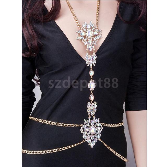 Boho Jewelry Charming Antique AB Rhinestone Body Necklace Crystal Body Chain