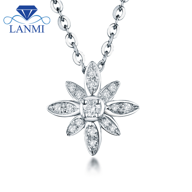 Flower Shape Diamond Pendant Necklace SI clarify Real 18K White Gold Elegant  for Wife Wedding Fine Jewelry Gift Wholesale