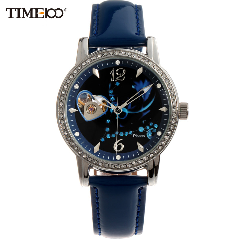 Time100 12 Constellation Pisces Women Automatic Self-wind Mechanical Watch Leather Strap Ladies Wrist Watches For Women Clock k colouring women ladies automatic self wind watch hollow skeleton mechanical wristwatch for gift box