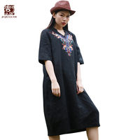 Jiqiuguer Women Black Summer Casual Dresses Vintage Embroidery V Neck Loose Three Quarter Pockets Pullover Plus