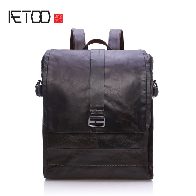 AETOO Leather men's bag first layer of leather shoulder bag travel oil wax leather retro bag qiaobao 2018 new korean version of the first layer of women s leather packet messenger bag female shoulder diagonal cross bag