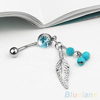 24 Pcs Women S Body Jewelry Crystal Navel Button Bar Barbell Leaf Turquoise Belly Ring BXXO