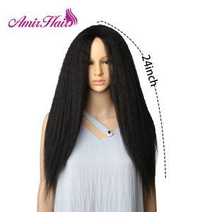 Image 4 - Amir uzun Yaki Kinky düz sentetik peruk afrika amerikan kadınlar için doğal siyah kahverengi Afro peruk ısıya dayanıklı iplik