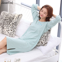 SuanDick 2017 Brand Female Cotton Long Sleeve Nightdress Autumn Korean Cute Sleep Wear Loose Home Clothes