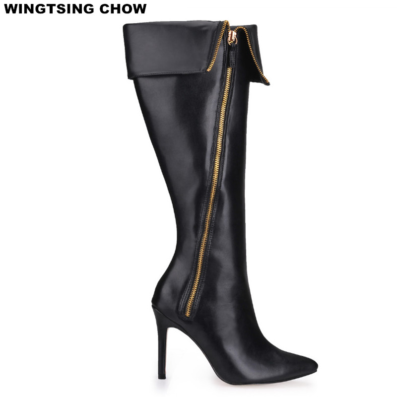 Pointed Toe Over The Knee Boots Women High Heels Sexy Motorcycle Boots Winter Shoes Women Pumps Fashion Ladies Shoes Big Size brand new fashion black yellow women knee high cowboy motorcycle boots ladies shoes high heels a 16 zip plus big size 32 43 10
