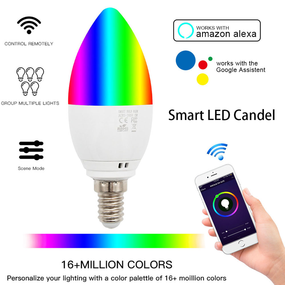 Smart WiFi Candle Bulb E14/E27 RGB Bulb Support Alexa/Google Home/IFTTT Smart Speaker Voice Control 5W  Led Lights Decoration