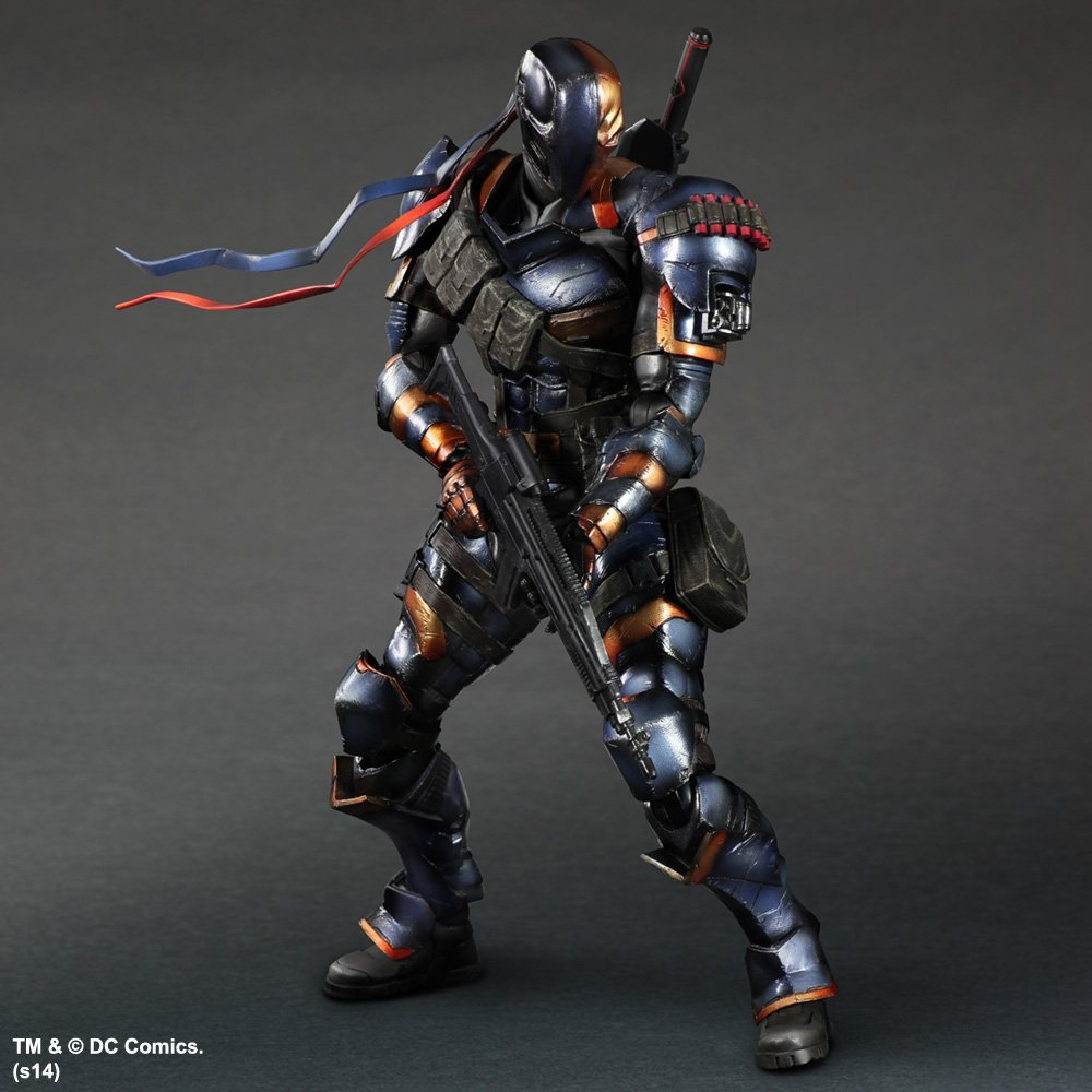 SQUARE ENIX Play Arts KAI DC Comics Batman: Arkham Origins Deathstroke PVC Action Figure Collectible Model Toy 27cm KT2898 t comvb bt wireless intercomunicador interphone headset 800m bluetooth motorcycle helmet intercom walkie talkie fm soft earpiece