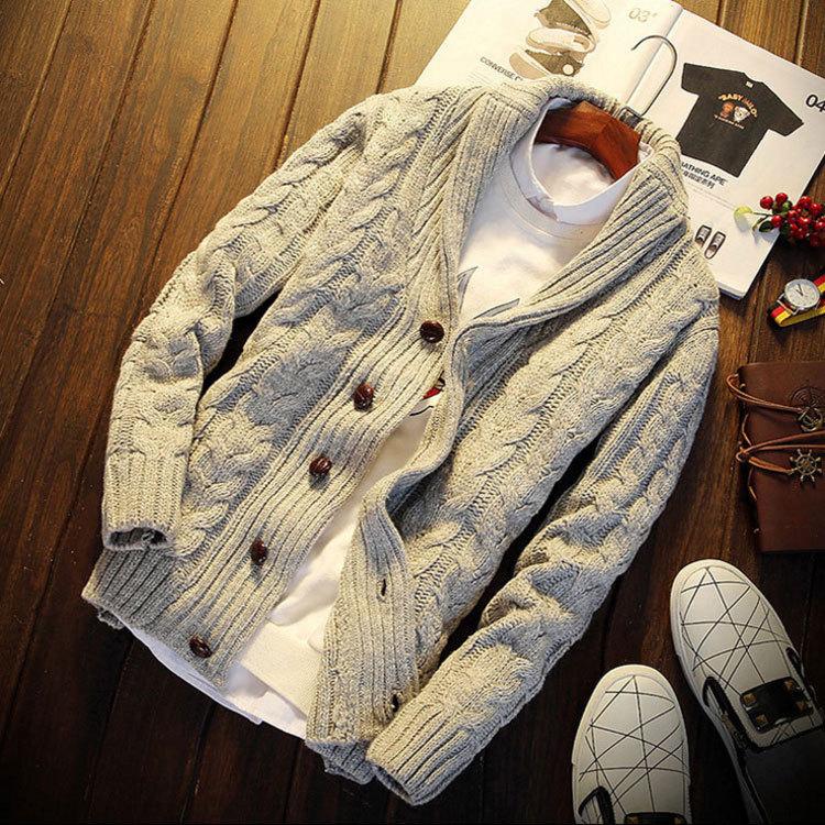 Frühling Und Herbst Strickjacke Pullover Männer Mode Lässig Verdicken Männer Pullover Einfarbig Dünnen Männer Jacke