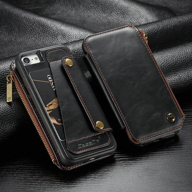 CaseMe Brieftasche Fall Für iPhone XS XS Max XR Zipper Tasche Kreditkarte Slots Zurück Für iPhone X 7 6 8 Plus Abnehmbare Leder Fall