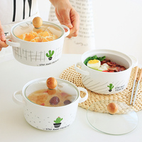 Japanese dorm ears household foam noodle bowl with lid large ceramic soup bowl tableware lovely students