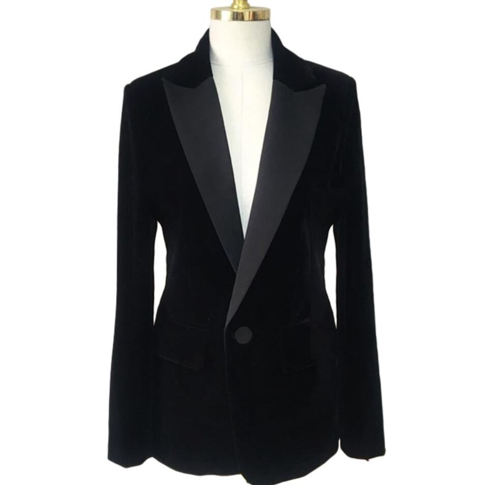 Women Velvet Blazer Coat Tops Black Jackets Autumn Fashion Office Lady Elegant Small Suit