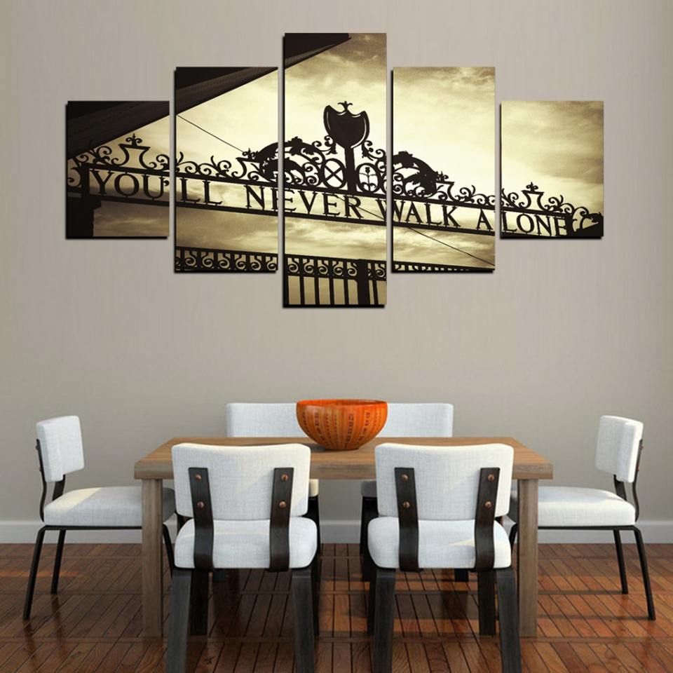 Canvas art Posters Home Decor Framework 5 Pieces You Will Never Walk Alone Paintings For Living Room sports poster HA150C