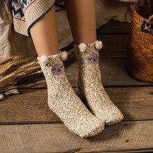 Adults Women Girls Winter Fluffy Warm Bed Sleep Socks Santa Coral Fleece Slipper Socks Winter Xmas Stockings Christmas Gift
