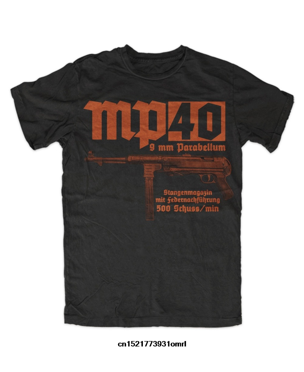 Ww2 Mp40 Submachine Gun Imprimir Camiseta Militar Alemão Landser Deutsches Personalizado T-Shirt 2019 Homens Da Moda Verão Camisa Ocasional T