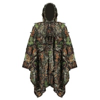 Hunting Clothes 3D Maple Leaf Bionic Ghillie Suits Yowie sniper Birdwatch Airsoft Camouflage Clothing Long jacket CS Game Clothe