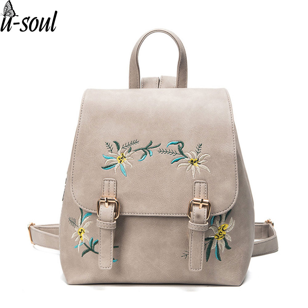 women leather backpack pu leather flower Embroidery School Bag For Teenage Girls Ladies Small Backpacks Gray Sac A Dos A1636 women backpacks fashion pu leather shoulder bag small backpack women embroidery dragonfly floral school bags for girls