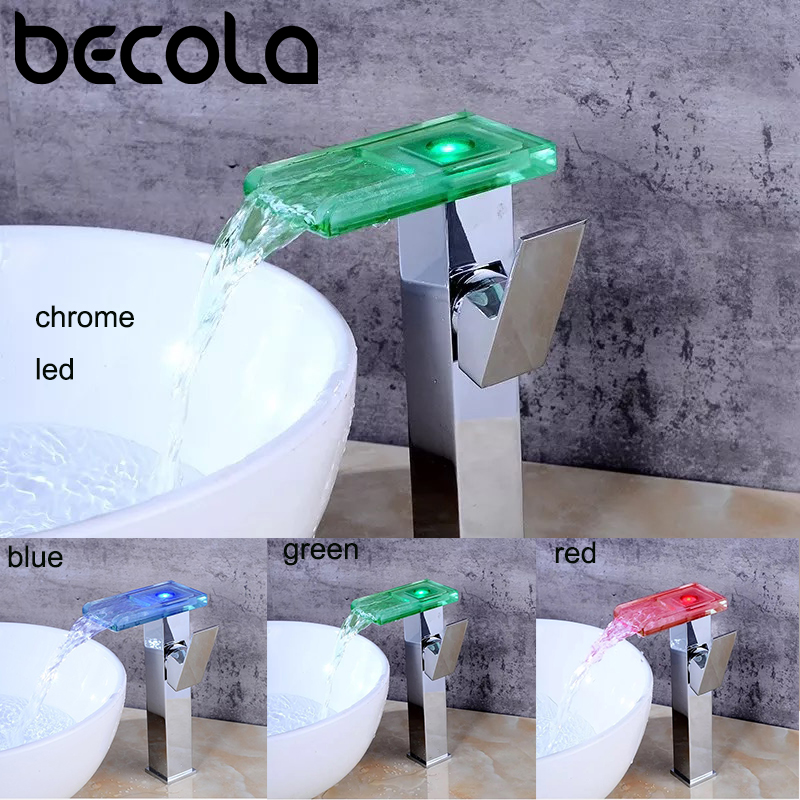 BECOLA LED chrome robinet salle de bain évier robinet cascade robinet lumière LED robinet d'eau froide et chaude bassin robinet mitigeur BR-716