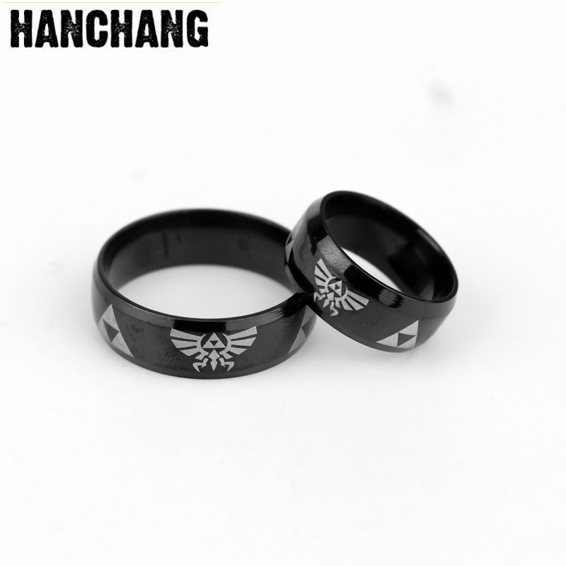 Dropshipping Stainless Steel <font><b>Ring</b></font> Game <font><b>Legend</b></font> <font><b>Of</b></font> <font><b>Zelda</b></font> Finger <font><b>Ring</b></font> Black Cool Round <font><b>Rings</b></font> Party Jewelry image
