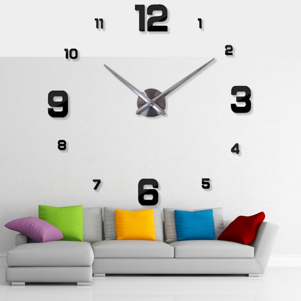 2018 3D DIY Large Exquisite Modern Design Home Decoration Big Mirror  Decorative Wall Clocks Watch Unique Gift FreeShipping