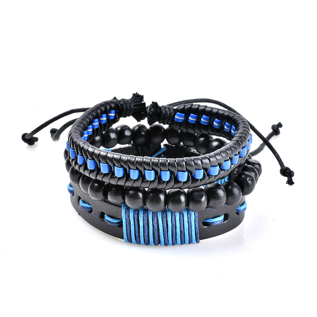 SHUANGR New Fashion Men Leather Bracelets Leather Rope Weave Bracelet Classic Wax Line Adjustable Hand Bracelet Male Jewelry