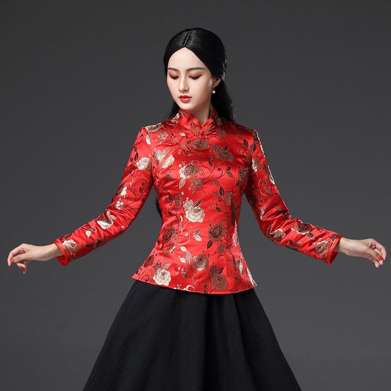 Rouge hiver Style chinois femmes Blouse Vintage fleur améliorée à la main bouton chemise Slim Mandarin col vêtements grande taille 3XL