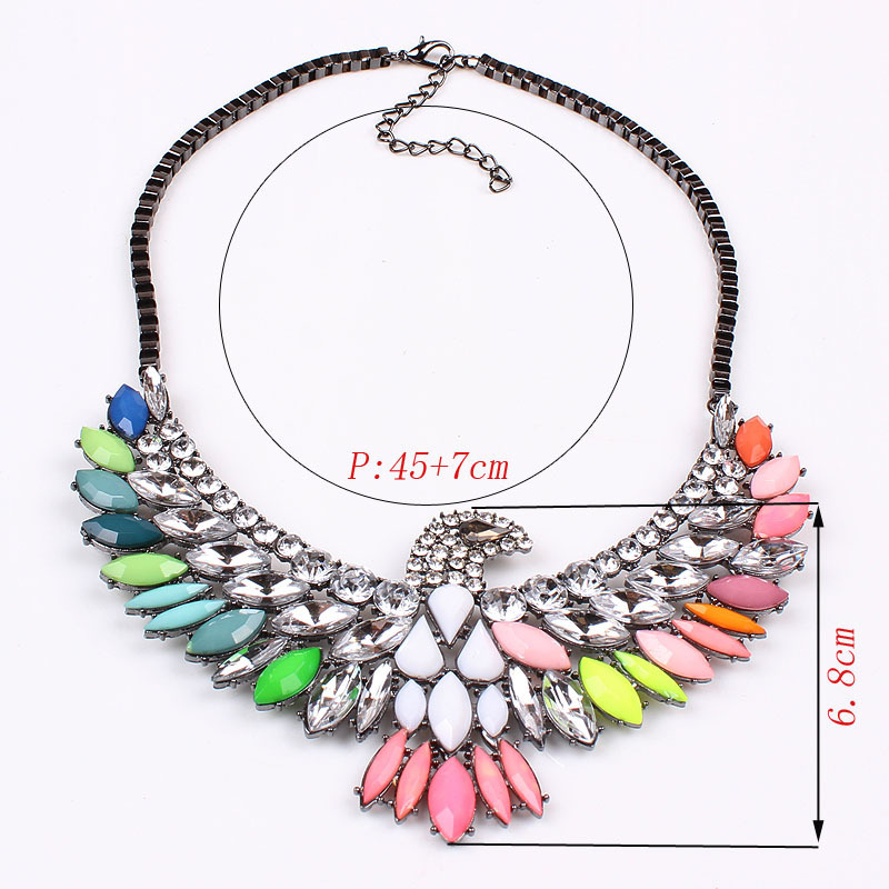 27e111b014 US $7.99 |Europe Personalized Jewelry Vintage Antique Metal Chokers With  Clear Rhinestone Jewelry Acrylic Beaded Eagle Charms Lady DFX 298-in Choker  ...