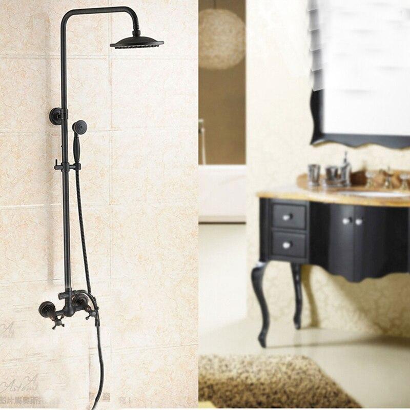 Luxury Oil Rubbed Bronze 8 Round Rain Shower Head Hand Shower Sprayer Mixer Tap black oil rubbed bronze 8 inch round rainfall rain bathroom shower head new wsh003