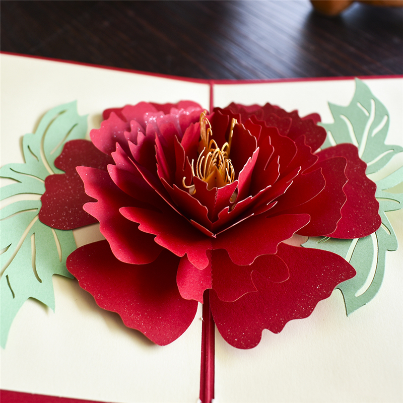 Peony 3D Pop UP Card Birthday Gift With Envelope Sticker Flower Laser Cut Invitation Greeting Card Postcard Kirigami Mothers Day