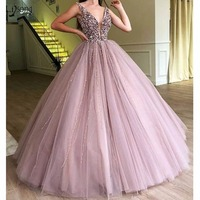 Abendkleider 2018 Evening Dresses Sparkle Beaded Tutu Ball Ball Gowns Crystal Pearls Vintage Long Evening Gowns V neck Prom Gown