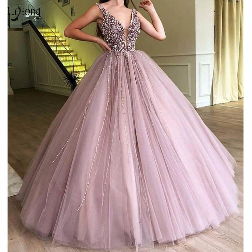 Abendkleider 2018   Evening     Dresses   Sparkle Beaded Tutu Ball Ball Gowns Crystal Pearls Vintage Long   Evening   Gowns V-neck Prom Gown