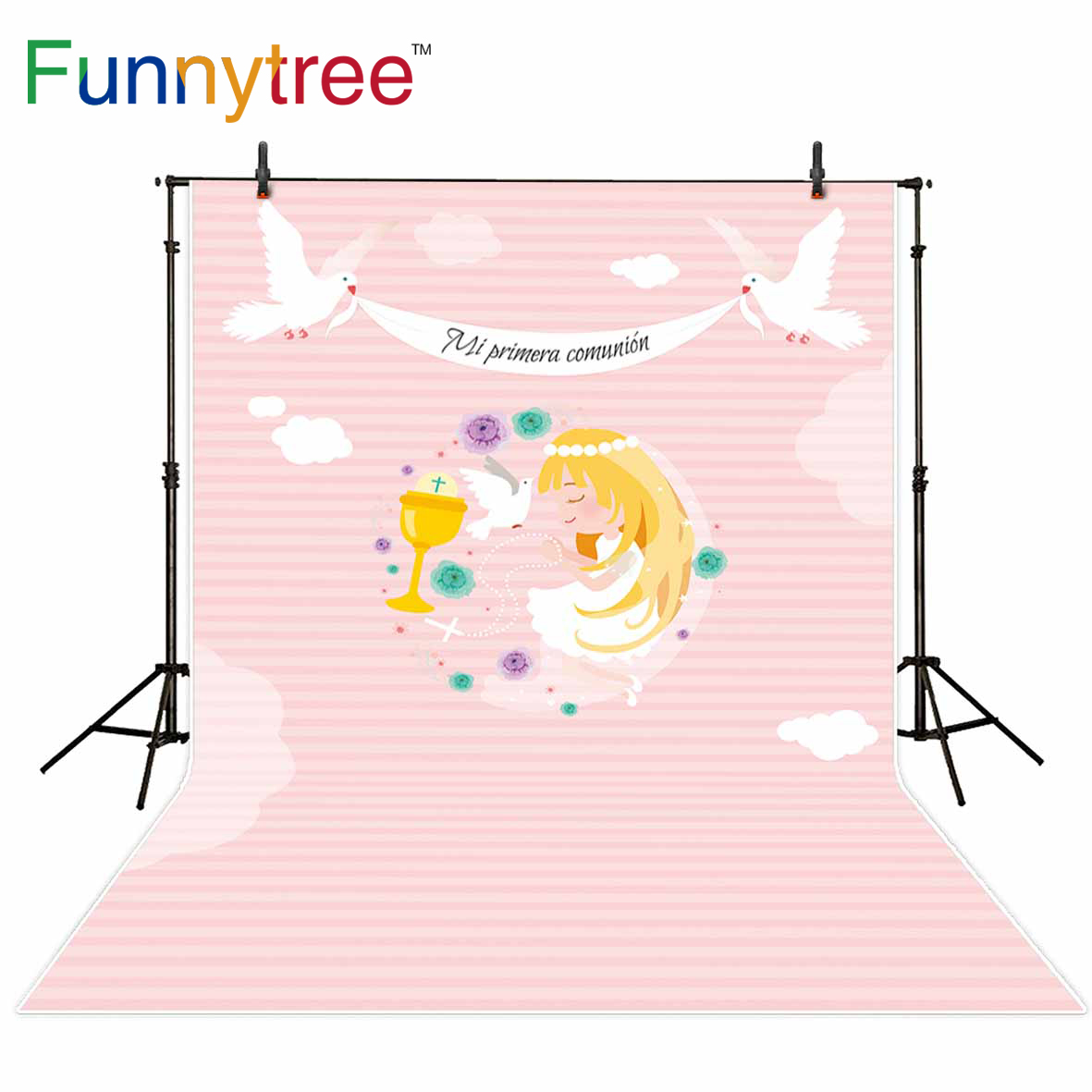Funnytree photography backdrop pink girl communion peace dove sky background photocall photobooth photographic photo shoot