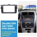 Negro Doble Din Car Radio Fascia para 2008 2009 2010 Toyota Corolla Placa Del Panel Equipo de Tablero Estéreo Reproductor de Audio
