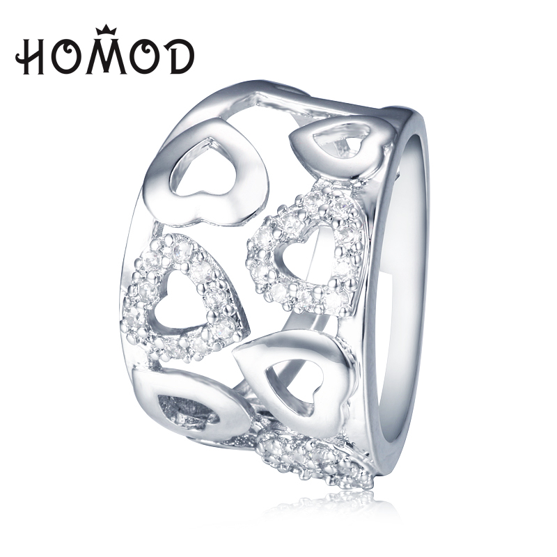 HOMOD Micro Setting Zirconia Hollow Heart Rings Silver Plated Jewelry Woman Engagement Wedding Jewel Love Gift Bijoux