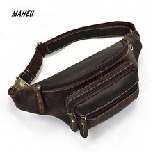 MAHEU leather belt pouch men casual cowskin waist bags of male crazy horse leather waist pack with earphone hole fanny pack(China)