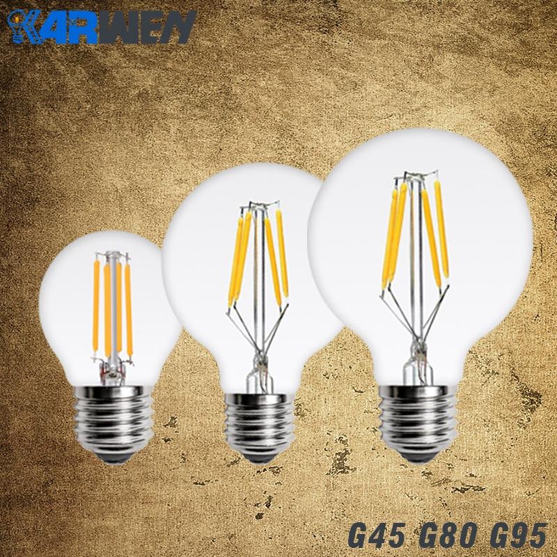 KARWEN LED Filament Light E27 G45 G80 G95 220V Antique Vintage LED Edison Bulb 2W 4W 6W 8W Glass Ball Bombillas LED Lamp